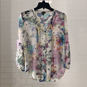 Anthropologie Fei Silk floral blouse (size 4/ S)